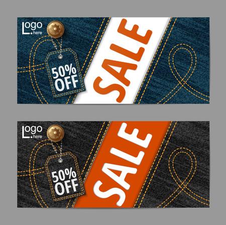 padding: Denim texture, Jeans banner, Sale banners design, vector Illustration