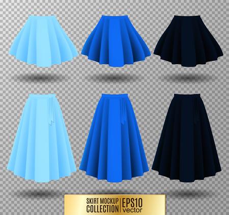 up skirt: Vector illustration of different model skirt on transparent background. Skirt mockup. Light, bright and dark blue variation. Illustration