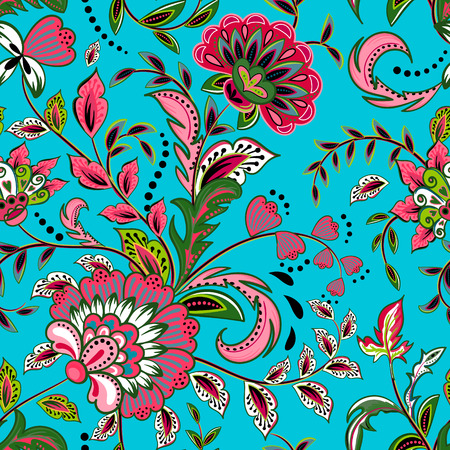 Seamless pattern with fantasy flowers, natural wallpaper, floral decoration curl illustration. Paisley print hand drawn elements. Home decor.