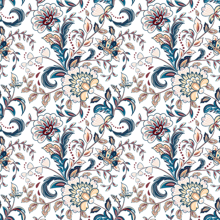 provence: Vintage flowers seamless background in provence style.
