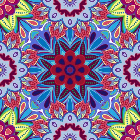 東洋の伝統的な花飾りのシームレスなパターン タイル デザイン イラスト。
