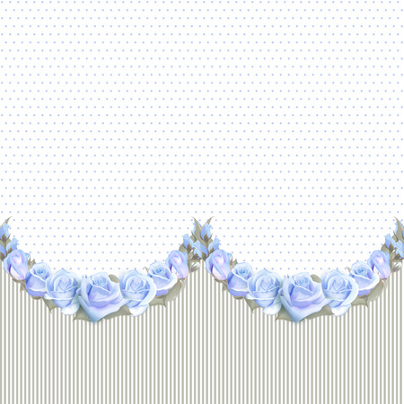 Seamless Garlands of Roses on a vintage striped ond dotted background. Vector floral border, endless horizontally pattern.