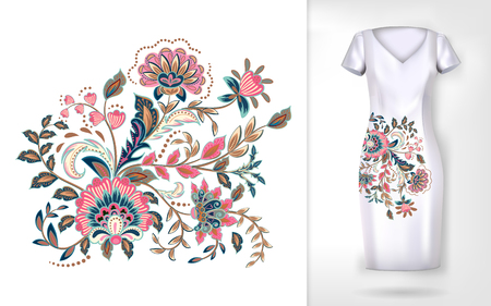 Embroidery colorful trend floral pattern.