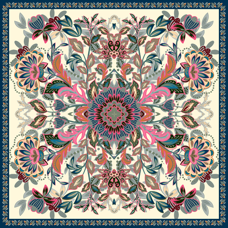neckerchief: Lovely tablecloth ethnic Indian flowers. Illustration