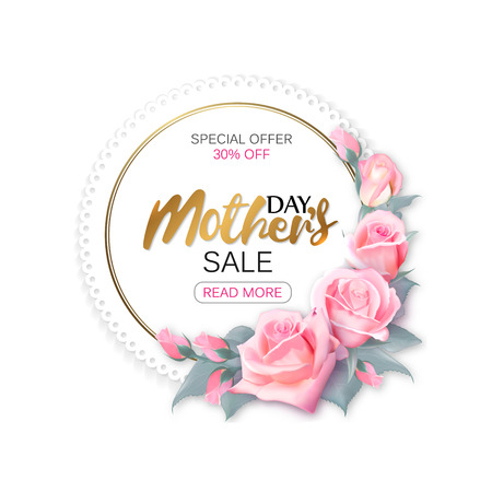 Womens day sale round frame with pink roses and gold lettering, womens shopping. Vector illustration.