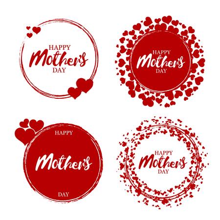 Gelukkige moedersdagzegel. Rood rond grunge vintage moeders dag teken. Vector