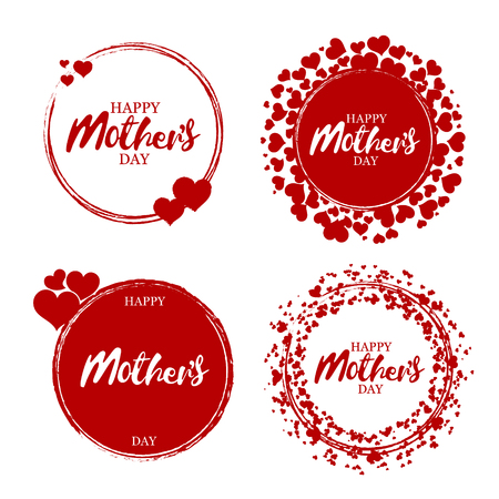 Happy mothers day stamp. Red round grunge vintage mothers day sign. Vector Çizim