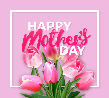 mather: Mothers Day Typographical Background With Spring Flowers
