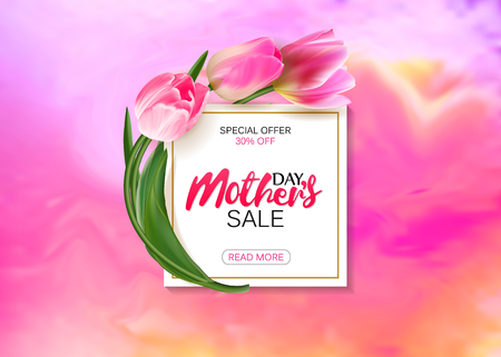 mather: Mothers day sale shopping special offer holiday banner flat vector illustration Illustration
