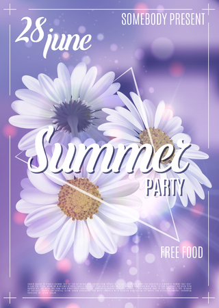 New designe summer party flyer or poster template. Vector Illustration