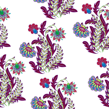 textiles: A Vector floral seamless pattern with hand drawing fantasy flowers Illustration