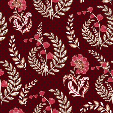 textiles: Seamless wallpaper vintage flower pattern on dot background. Vinous backdrop.