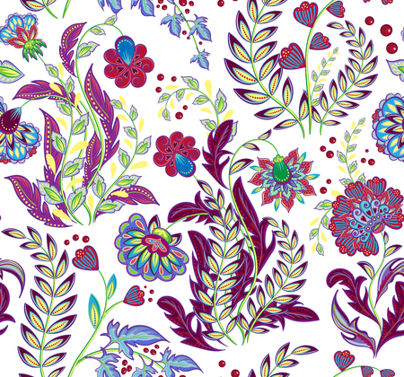 A Seamless pattern in ethnic traditional style. The pattern of mandalas and Paisley pattern in Indian style.