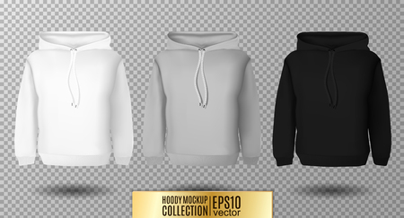 textiles: Hoody set. Realistic mockup. Long sleeve hoody template on transparent background. White, black and gray version