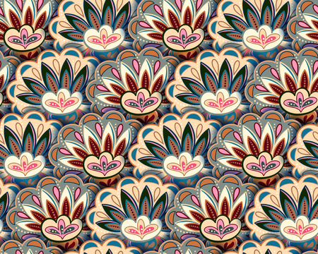 textiles: Seamless ethnic pattern with floral motives. Beige gray pink pastel background.