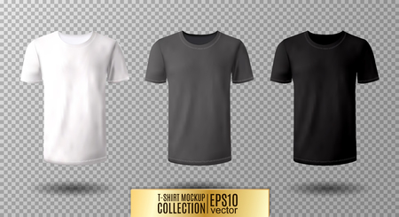 Shirt mock up set. T-shirt template. Black, gray and white version, front design. Vettoriali