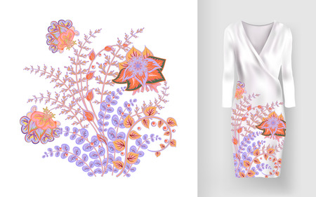 Embroidery colorful trend floral pattern. Vector traditional ornamental flowers pattern on dress mock up. Can be used in dressing clothes, textiles, household items. Illustration