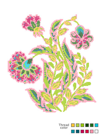 Cross Stitch Flowers. Ready-made template for cross stitching. Catalog of used thread colors. Vector Illustration