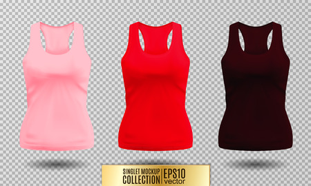 Vector illustration of black and white tank top or singlet. Pink red and vinous colors. Realistic vector objects. Illustration