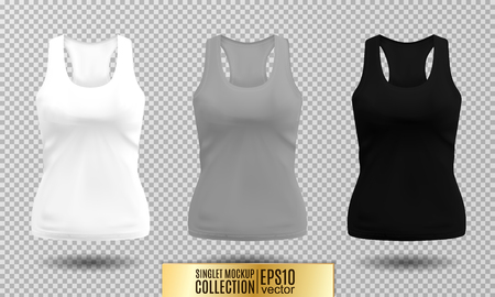 Vector illustration of fitness tank top for women. Realistic illustration sport wear. Realistic vector objects on transparent background. White, gray and black colors.