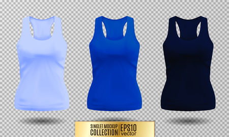 Blank sport tank top for women template set. Light, bright and dark blue colors. Vector objects on transparent background. Ilustração