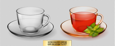 ice tea: Vector glass cup. Transparent glass cup with tea.