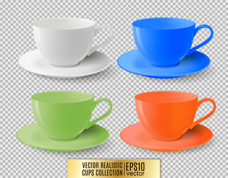 Colored tea cups on a transparent background. Realistic vector. Ceramic cup set. Illustration