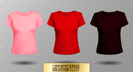 T-shirt template set for men and women, realistic gradient mesh. 向量圖像
