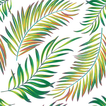 Vector seamless pattern with bright colorful palm leaves Illustration