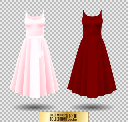 Dress mockup collection. Dress with long pleated skirt. Realistic vector illustration. Fully editable handmade mesh.