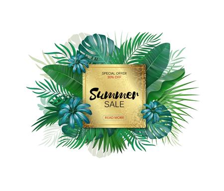 cool off: Summer sale banner. Summer Sale poster design for print or web. Vector discount banner. Tropical leaves background. Golden plate.