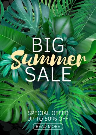 Sale vertical banner, poster with palm leaves, jungle leaf and handwriting lettering. Floral tropical summer background. Vector illustration EPS10 Çizim