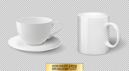 Vector realistic ceramic white cup and mug isolated on transparent background. Illustration