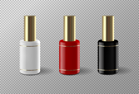 Set of realistic vector nail polish package