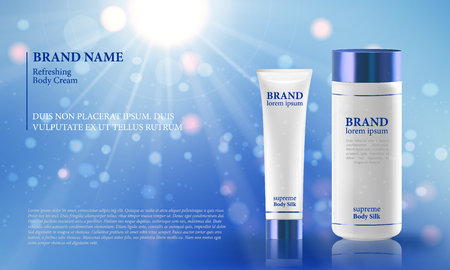 cleansing: Blue background with realistic 3D vector moisturizing cosmetic cleansing premium products. Premium VIP cosmetic ads