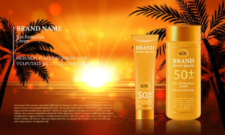 radiant: Sun Protection Cream ads. Vector Illustration with sun protection tube. Illustration