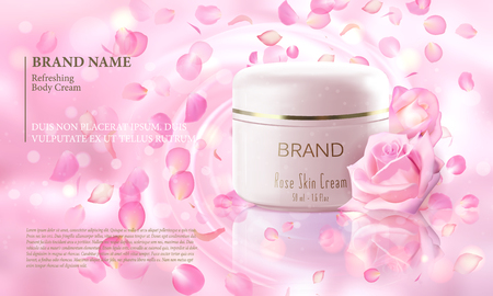 Rose flower extract cosmetic ads template, realistic 3D illustration skincare moisturizing mockup elegant glow bokeh background flying petal. Promoting vip luxury promo poster Иллюстрация