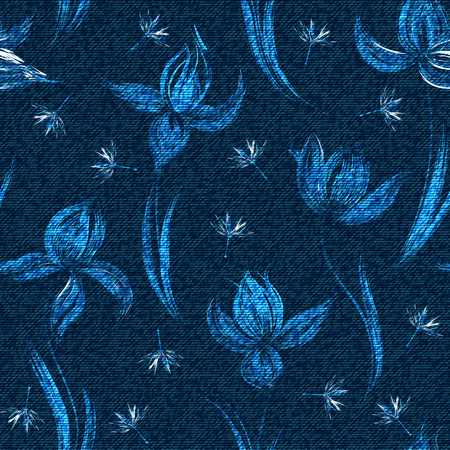 A Vector denim floral seamless pattern. Faded jeans background with crocus flowers. Blue jeans cloth background.