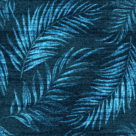 A Vector denim exotic palm leaf seamless pattern. Faded jeans background with tropical plants. Blue jeans cloth background. Иллюстрация