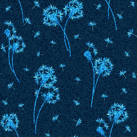 A Vector denim floral seamless pattern. Faded jeans background with dandelion flowers. Blue jeans cloth background. Иллюстрация