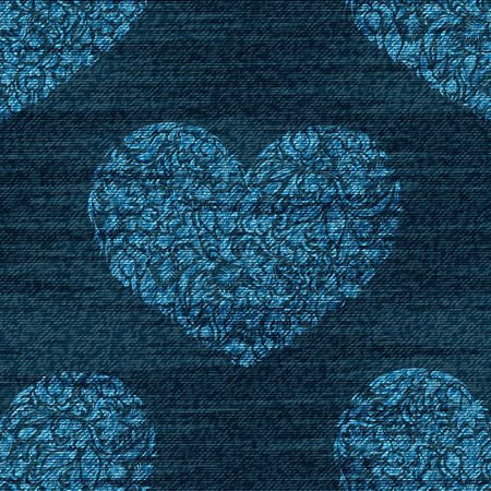 A Vector denim romantic seamless pattern. Faded jeans background with zentangle hearts. Blue jeans cloth background.