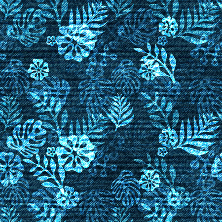Vector denim exotic leaf seamless pattern. Faded jeans background with tropical plants. Blue jeans cloth background. Фото со стока - 80567874