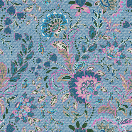 Light blue denim with colorful floral pattern. Beautiful ornamental floral seamless background. Hand draw eastern paisley ornament. Vector.