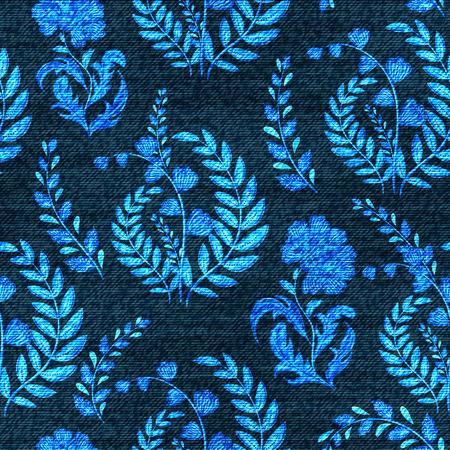 Modèle sans couture floral de vecteur denim. Fond de jeans délavé avec des fleurs de fantaisie. Fond de tissu bleu jeans. Vecteurs
