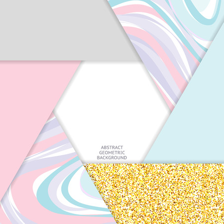 granite: Trendy colors abstract background. Glitter gold, marble details. Hexagon form. Vector