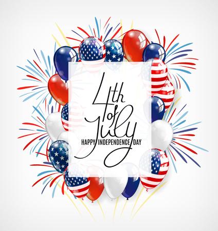USA Happy Independence Day Schriftzug Grußkarte. 4 Viertel Juli-Feierfahne, Grußkartendesign mit Ballonen. Glücklicher Unabhängigkeitstag von Vereinigten Staaten von Amerika.