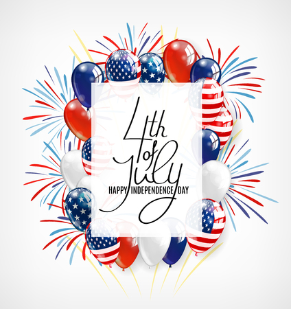 USA Happy Independence day lettering greeting card. 4 Fourth of July celebration banner, greeting card design with balloons. Happy independence day of United States of America.