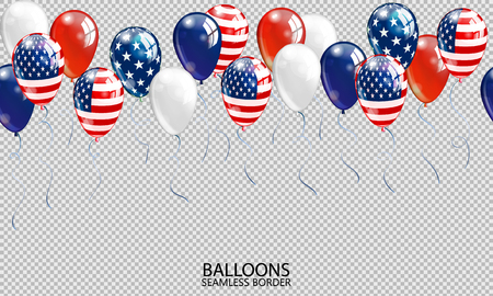 A Seamless realistic balloon border on transparent background. USA patriotic colors balloons Vector.