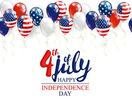 4 juillet - independence day célébration fond avec des ballons de fête et place pour votre texte