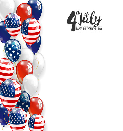 Patriotic border of multicolored balloons. 4 July Independence Day background. Vector realistic balloons